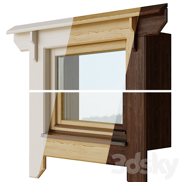 Wooden windows with platbands 1 | Constructor