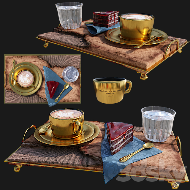 Starbucks Reserve Golden Cup & Wooden Tray