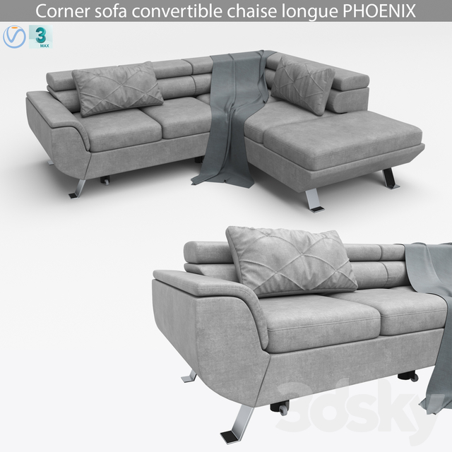 Corner sofa convertible chaise longue PHOENIX