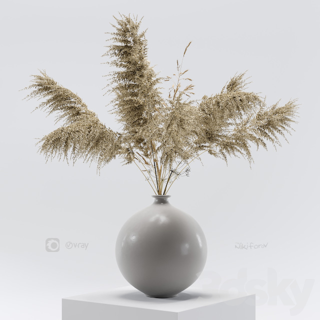 Vase with dried flowers 0001