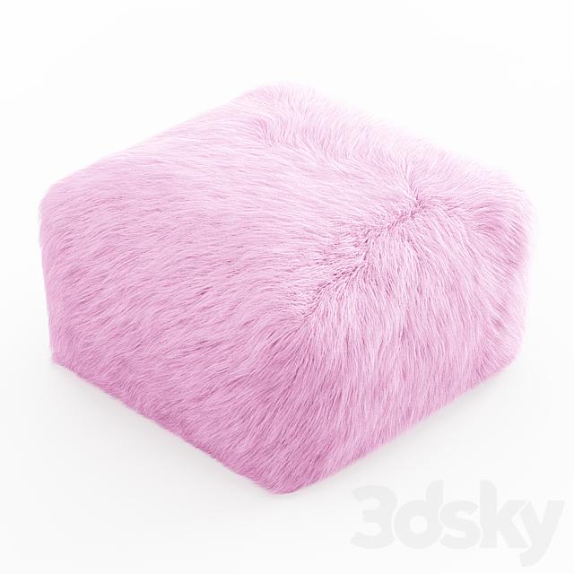 Pouf Youth Faux Fur Light Pink