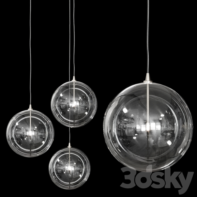 Restoration Hardware Glass Globe Mobile Pendant 14 Nickel