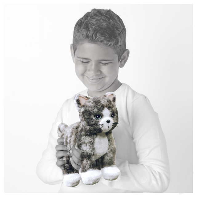 LILLEPLUTT Soft toy cat gray white