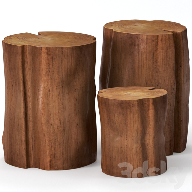 Coffee tables made of stumps.