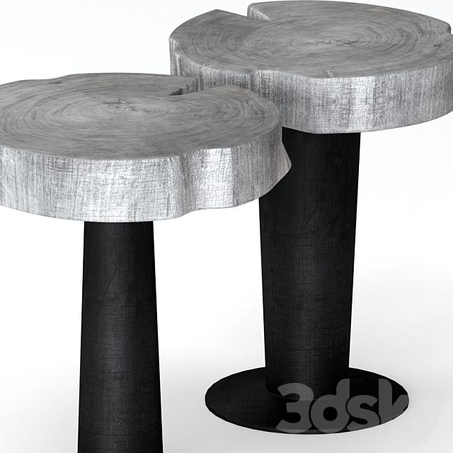 Gray stump coffee tables.