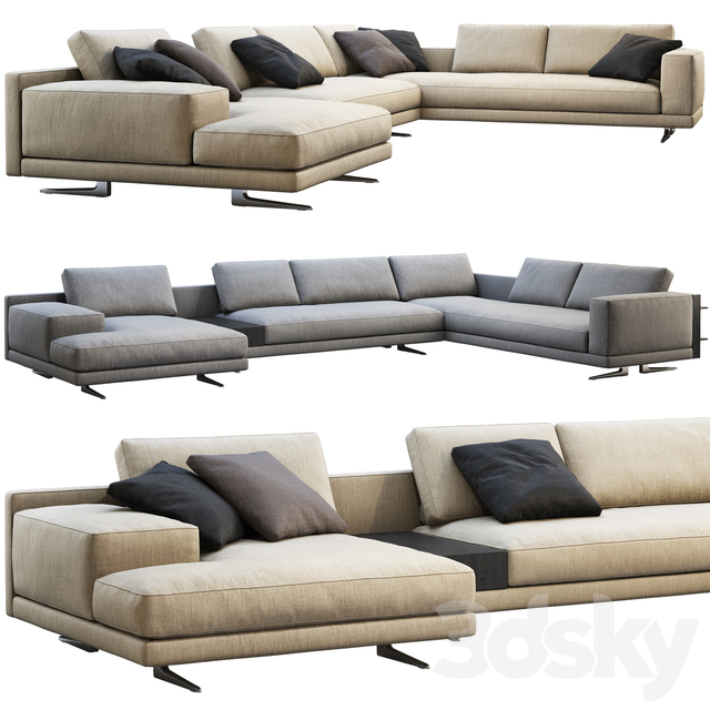 Poliform Mondrian chaise lounge sofa