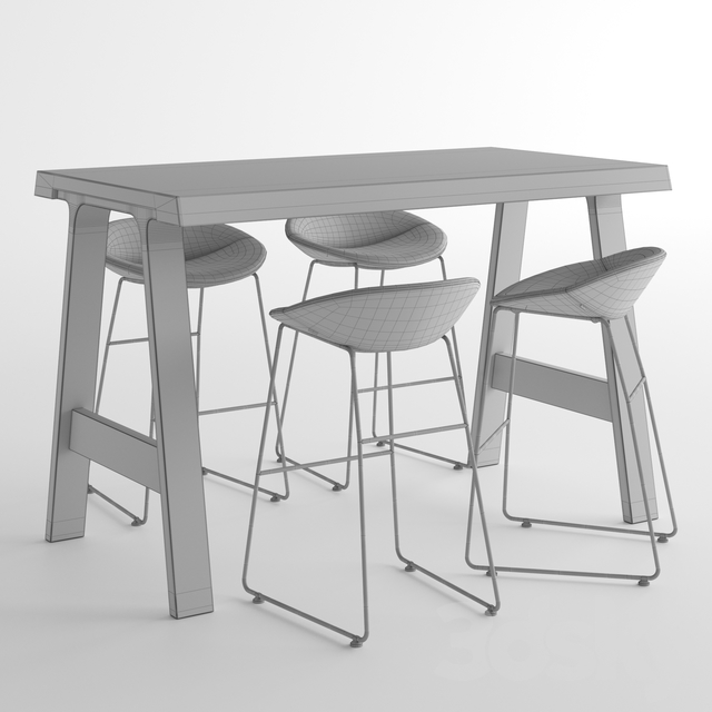 Montis Doble Table + MIck Bar Stool Small / Bar table and chair low