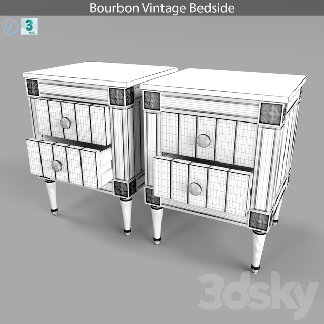 Bourbon Vintage Bedside, Gray and Dark Blue