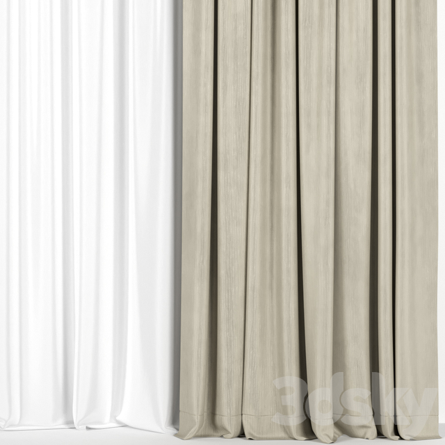 Beige curtains with tulle