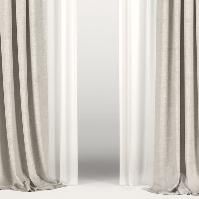 Beige curtains with tulle and a roman curtain