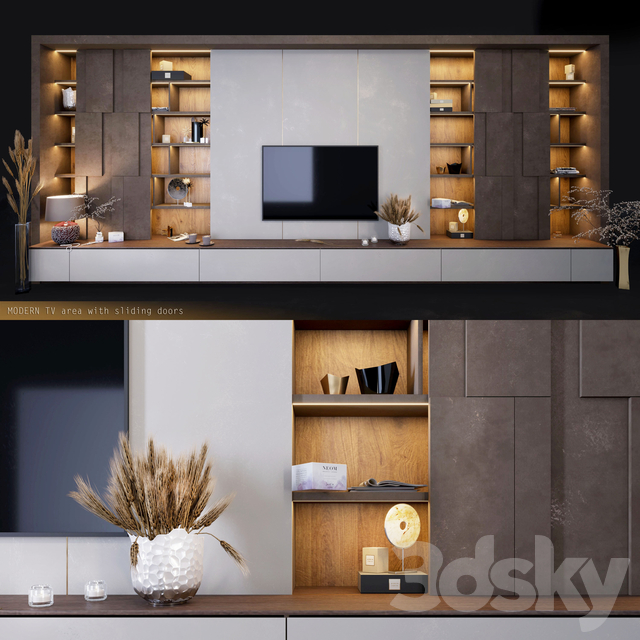 Furniture for TV zones with decor