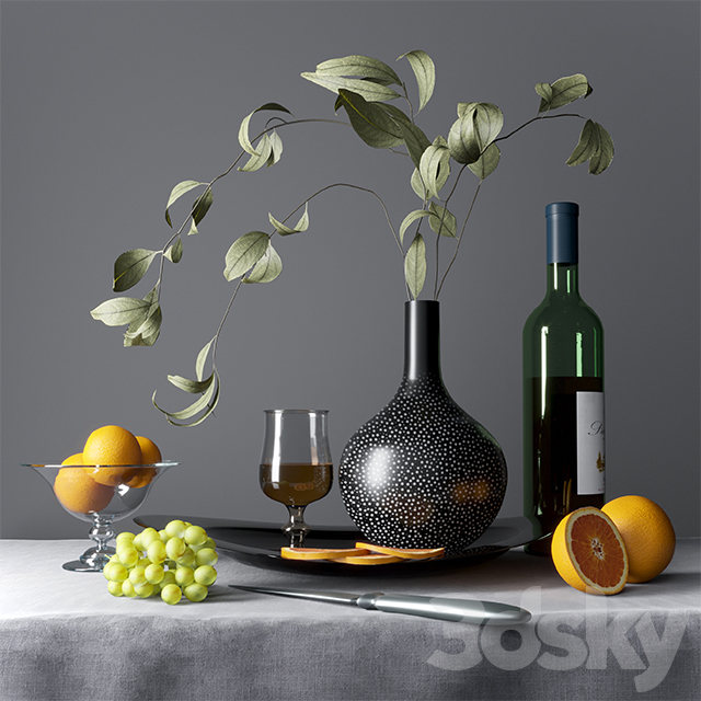 Still life with fruits, dishes and cognac