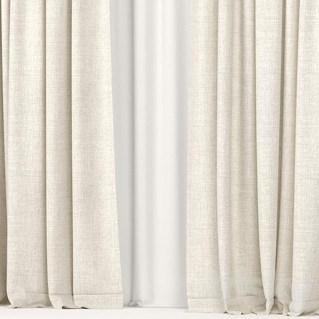 Beige curtains.
