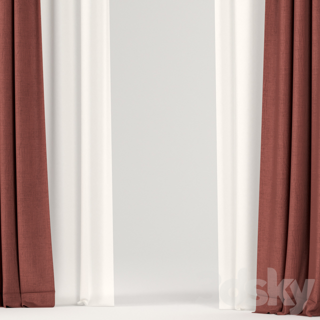 Red curtains.
