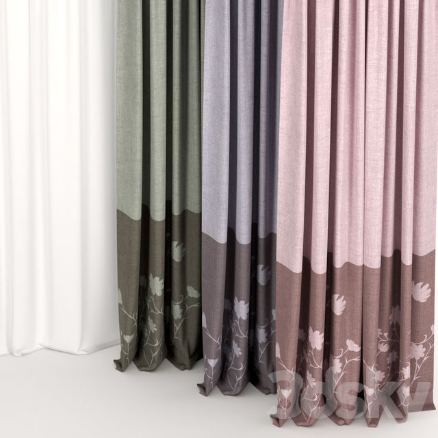 A series of two-tone curtains.