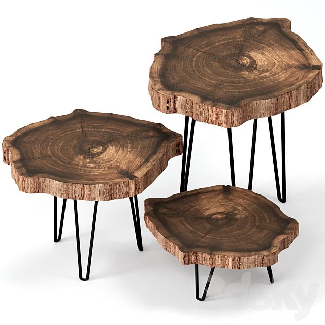 Slab coffee tables.