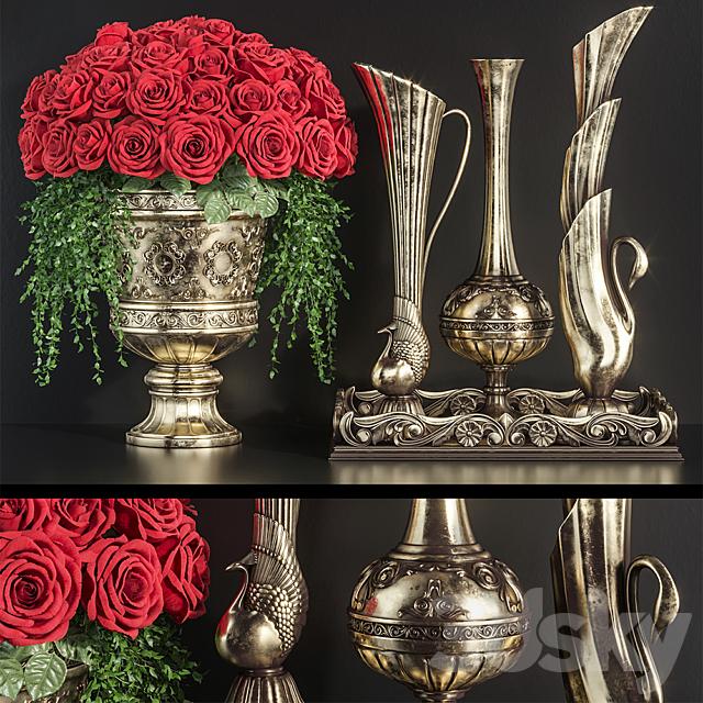 Decoration Set 23 Red Roses in antique vases.