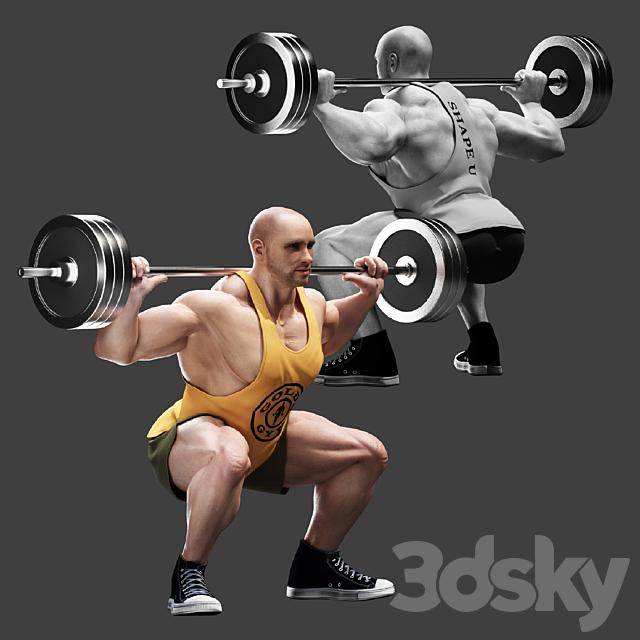 Bodybuilder. Barbell Squats