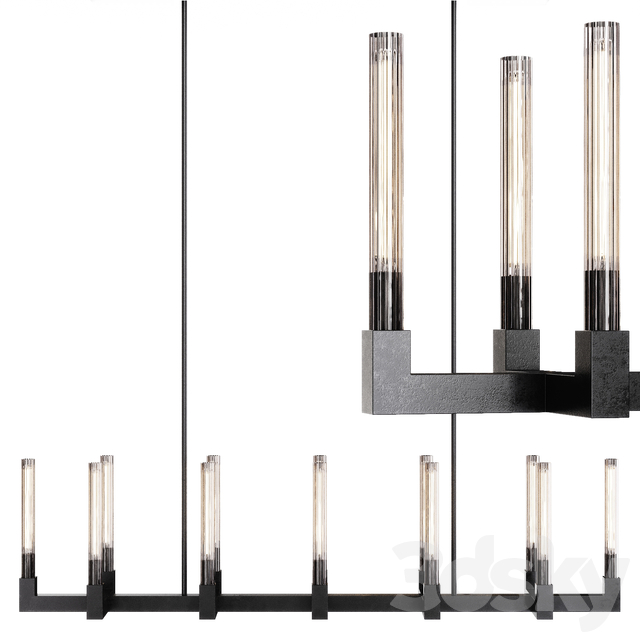 Restoration Hardware CANNELE LINEAR CHANDELIER 67 Black