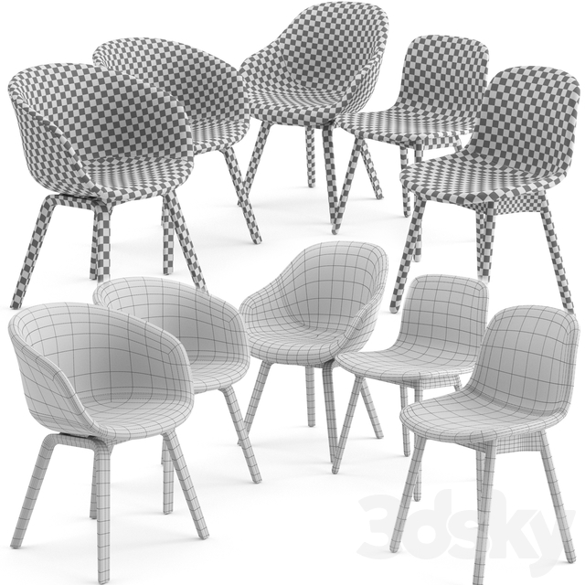 Dinning chairs - wood base - by Hay