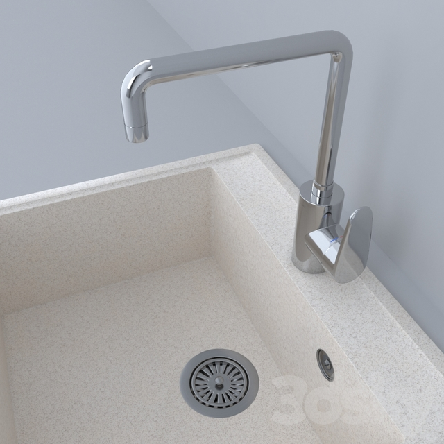 Stone sink with mixer