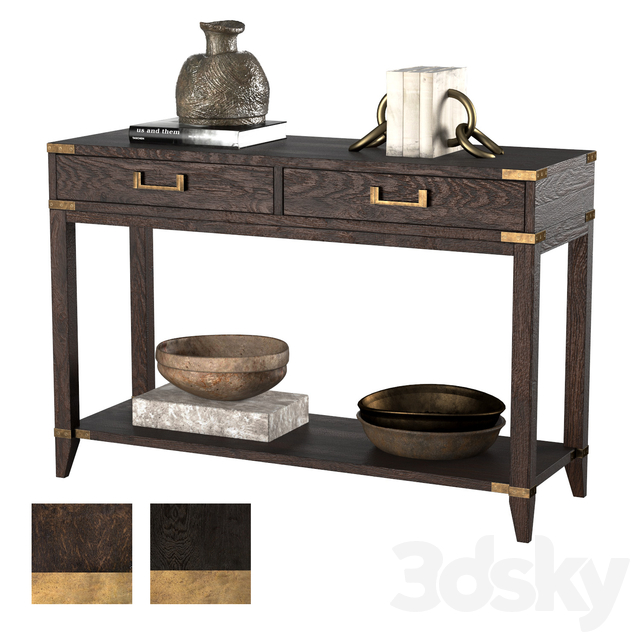 CAYDEN CAMPAIGN 2-DRAWER CONSOLE TABLE dark
