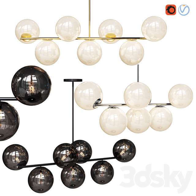 West Elm Sphere and Stem collection 7 light Chandelier Chrome, Gold, Bronze