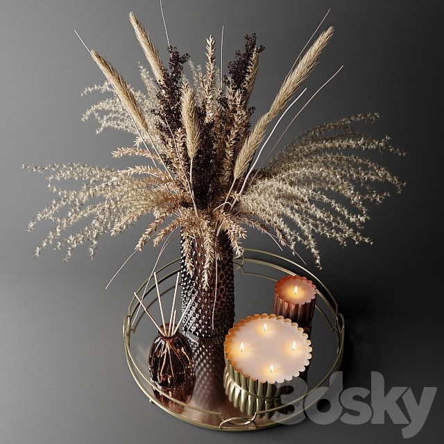 Dry bouquet in the decorative vase   Bouquet of dried flowers in a decorative vase