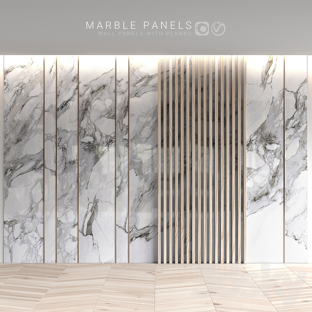 Marble panels with planks