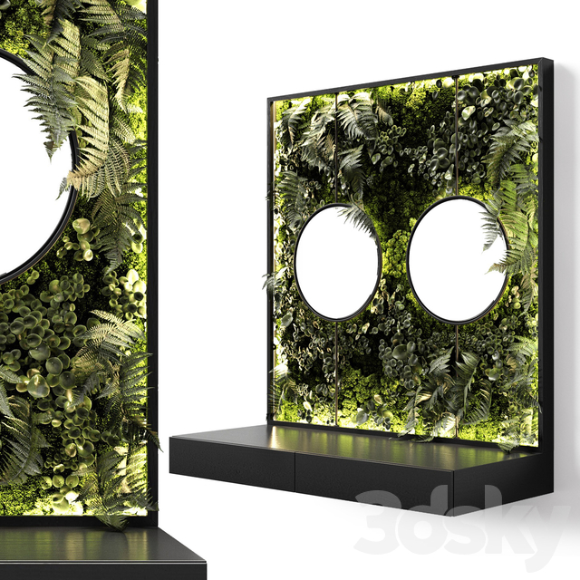 Console with mirrors and vertical garden