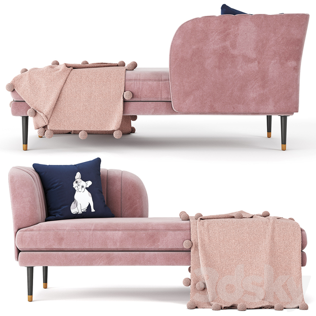 Kensington chaise rose pink