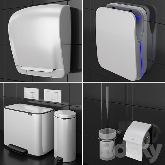 Bathroom accessories set 73 White (Grohe, Jofel, Brabantia, BXG, Katrin, Viega)