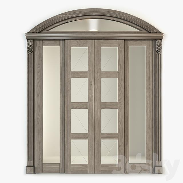 Sliding double-leaf arched door