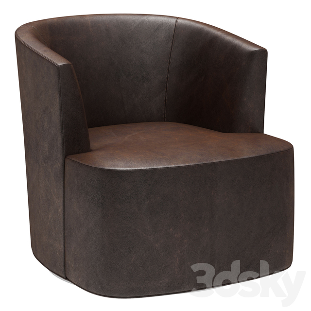 Restoration Hardware Arden Leather Swivel Chair