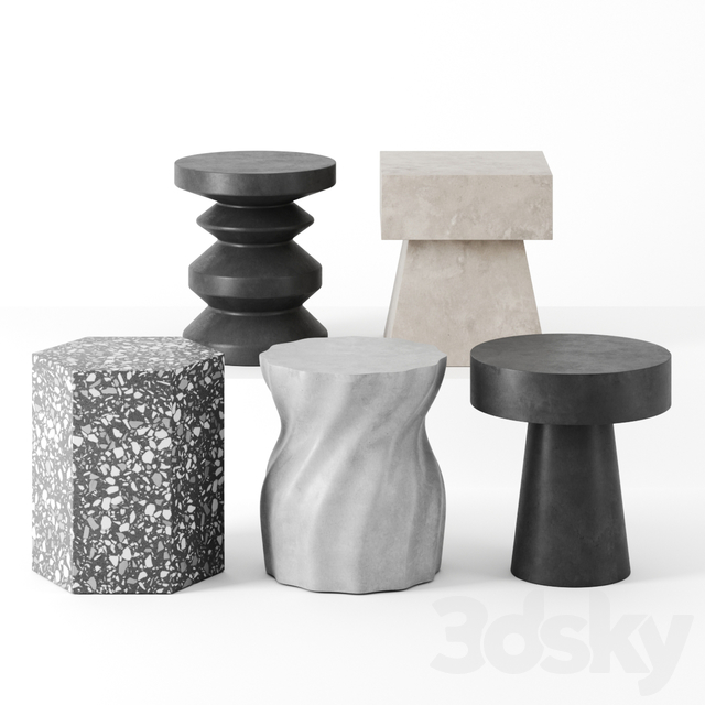 Sculptural side tables