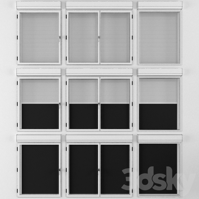 Hinged and dull windows with roller shutters