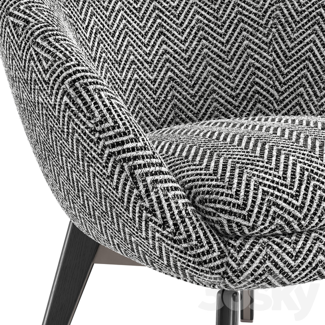 Minotti Russell Lounge Little Armchair Fixed