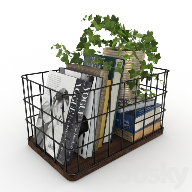 Decorative Basket with Books and Plant