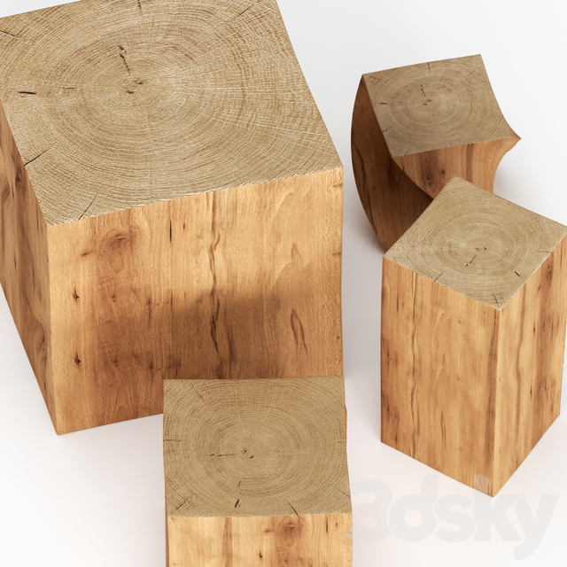 Set of coffee tables made of stumps.