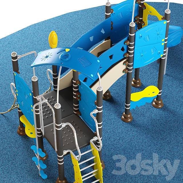 Kids playground equipment with slide climbing 06