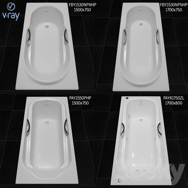 Toto Bathtub: Fby1530 Npnhp, Fby1720 Np, Pay1550 Php, Payk1750 Zlrhpe