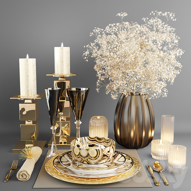 Decorative set with dishes and a bouquet of white flowers
