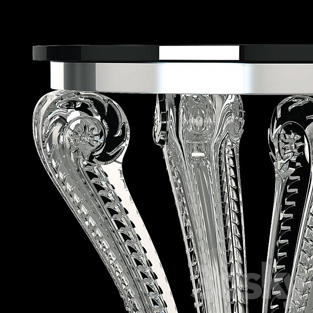 Lalique Marsan Crystal Pedestal Side Table