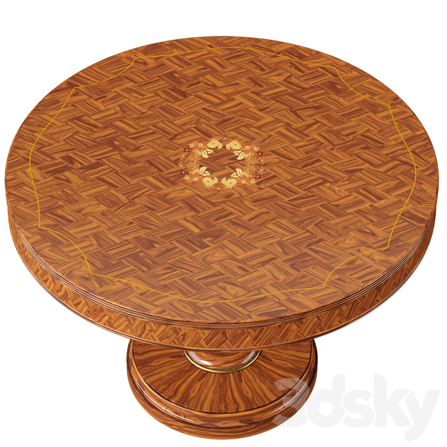 Parquetry and floral marquetry center table