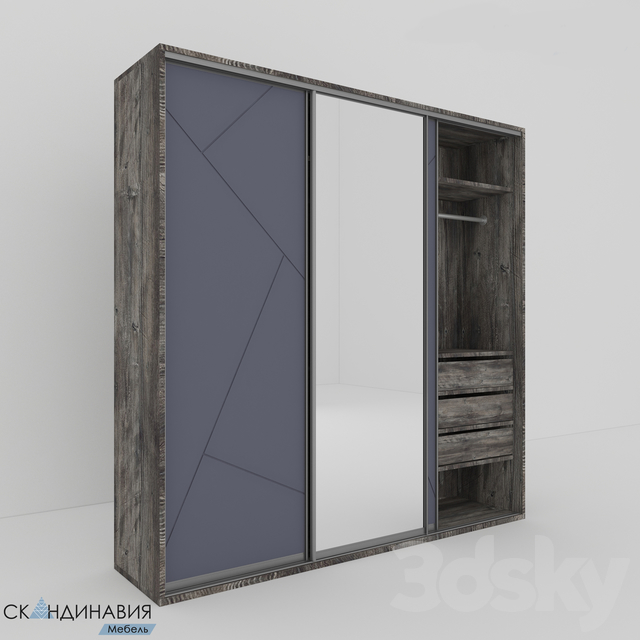 Sliding wardrobe with a mirror Skandinaviya mebel