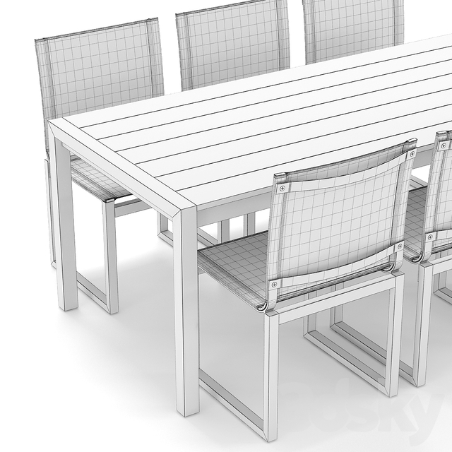 RH Outdoor Aegean restangular table-chair