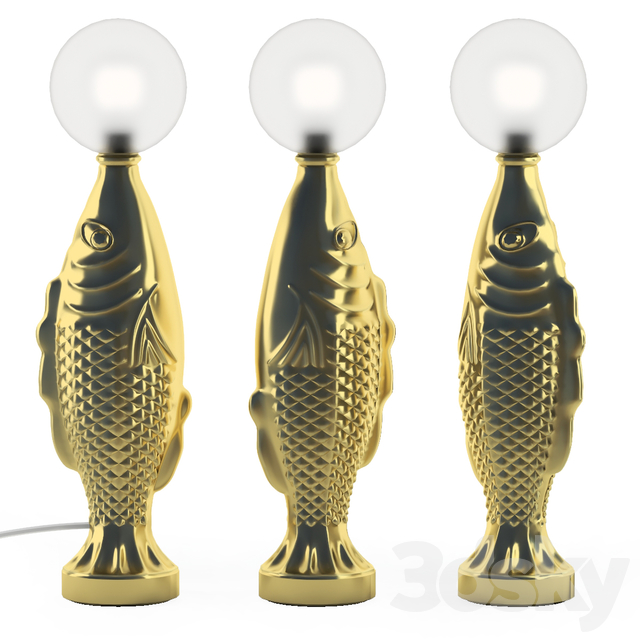 Gold fish table lamp