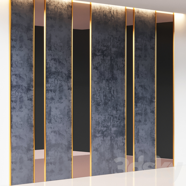 Decorative Wall Panel Blue Corduroy, Brass and Glass