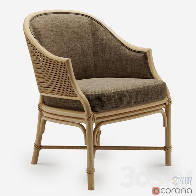 8d models: Arm chair - Mcguire furniture caned chair