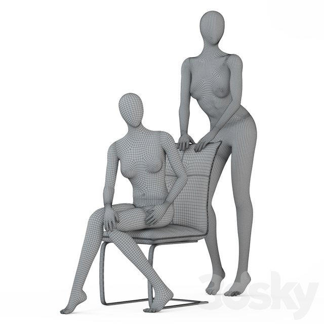 Two female faceless mannequins in a sitting and standing pose 53